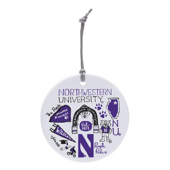 Northwestern Wildcats Ceramic Circle Ornament