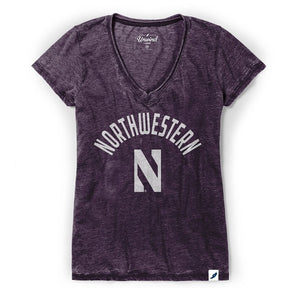 Northwestern Wildcats Women's Distressed V-Neck