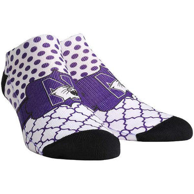 Northwestern Wildcats Quatrefoil Dots Socks - Adults