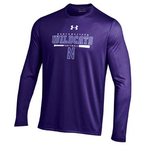 Northwestern Wildcats Under Armour® Softball Purple Batter Up Tech Long Sleeve T-Shirt
