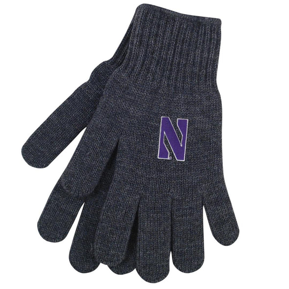 Northwestern Wildcats Tailgate Knit Gloves-Charcoal