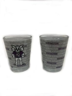 Northwestern Wildcats Willie Frosted Shot Glass