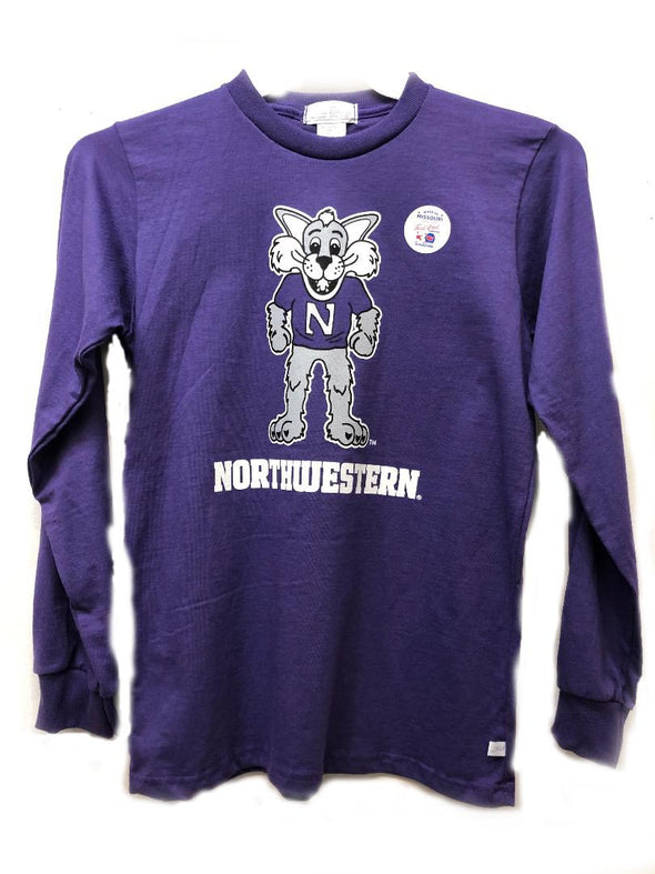 Northwestern Wildcats  Willie Long Sleeve Tee-Youth