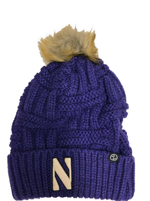 Northwestern Wildcats Purple  Cable Pom Knit Hat