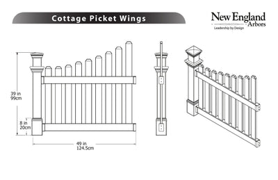 New England Arbors Cottage Picket Wings
