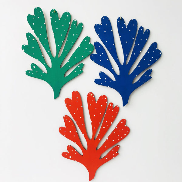 The Great Lakes Goods Coral Wall Cham Rose City Goods Inspired by Matisse and Medusa Laser Cut Wood Wall Art Wall Hanging Green Cobalt Red Hand Painted in Brooklyn