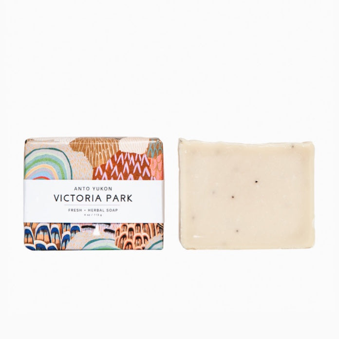 Anto Yukon Victoria Park Soap Rose City Goods Made From 100% Natural Ingredients Natural Colourants Fresh Herbal Soap Lemongrass Basil Rosemary Mint Handmade and Cured in Whitehorse Yukon Territory