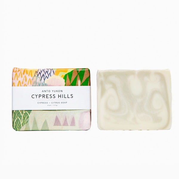 Anto Yukon Cypress Hills Soap Bar Rose City Goods Made with Natural Ingredients Colourants Juniper Clary Sage Essential Oils Handmade and Cured in the Yukon Territory