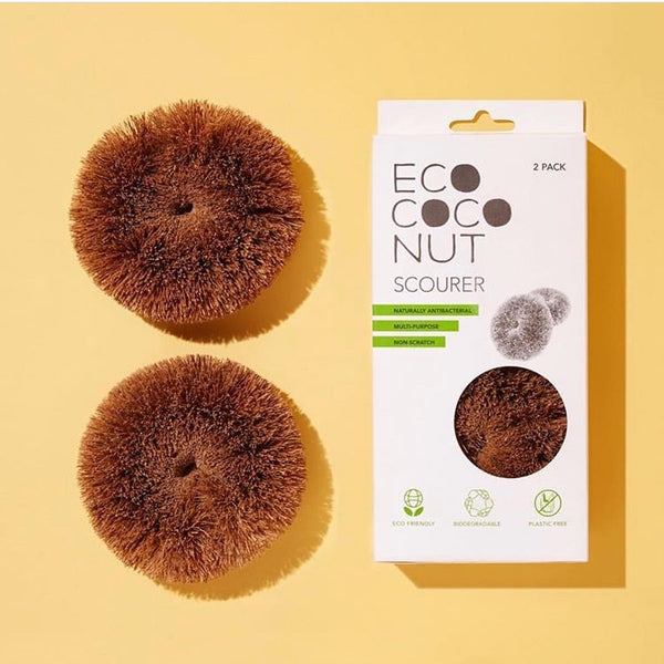 EcoCoconut Twin Pack Scourers Rose City Goods Durable Biodegradable Antibacterial Multipurpose Non-Scratch Cleaning Products