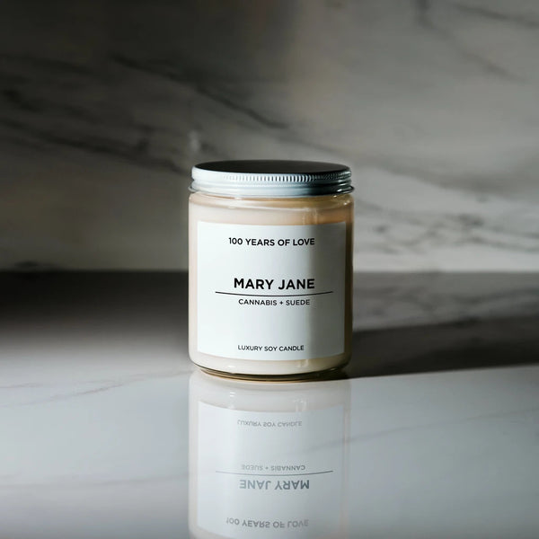 100 Years of Love Mary Jane Soy Candle Rose City Goods Cannabis Weed Marijuana Scented Candle Robust Earthy Sensual Lead Free Petroleum Free Phthalane Free 40 Hour Burn Cotton Wick Hand Poured in Toronto