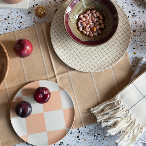 Minna Goods Albers Placemat Rose City Goods Ethically Made Tableware Sustainably Sourced Home Goods  Handwoven in Cojolá Guatemala Minna Goods Albers Placemat Rose City Goods Handwoven in Guatemala by a Women-Led Co-Op Bauhaus-Inspired Traditional Techniques Sustainably Sourced Home Goods Ethically Made