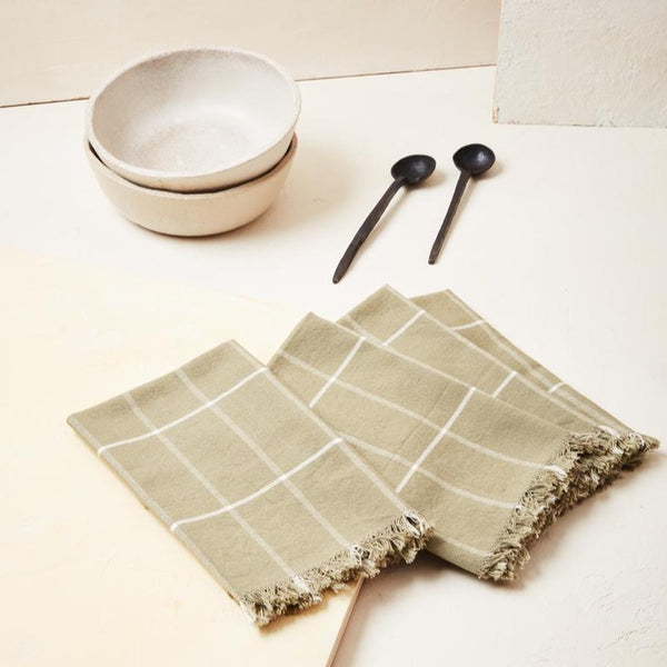 Minna Goods Grid Napkins Sage Rose City Goods 100% Cotton Soft Absorbent Napkin Ethically Made Housewares Sustainably Sourced Home Goods Frayed Edge Napkin Handwoven in Chiapas Mexico