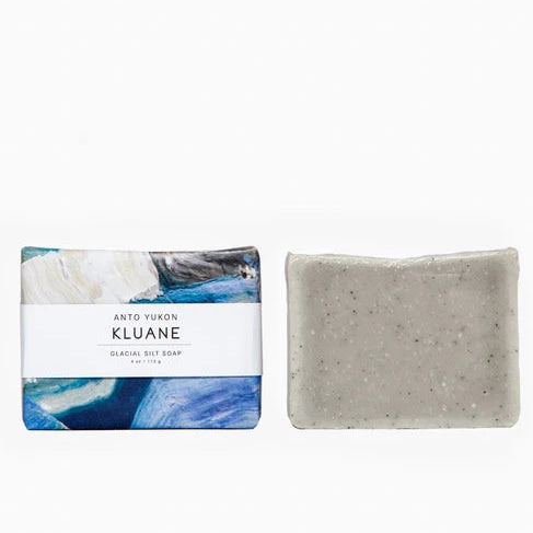 Anto Yukon Kluane Soap Rose City Goods Detoxifying Exfoliating Glacial Silt from Kluane National Park All Natural Ingredients Natural Colourants Lavender Mint Handmade in Yukon Territory