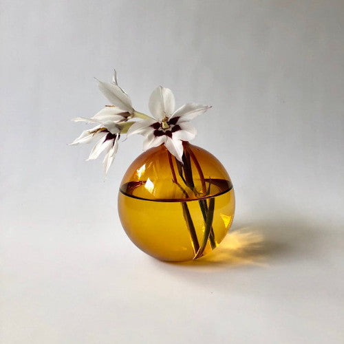 Brook Darbot Blown Glass Bud Vase in Amber Handmade in Manitoba Wildflower Vase Single Stem Perfect For Propagation