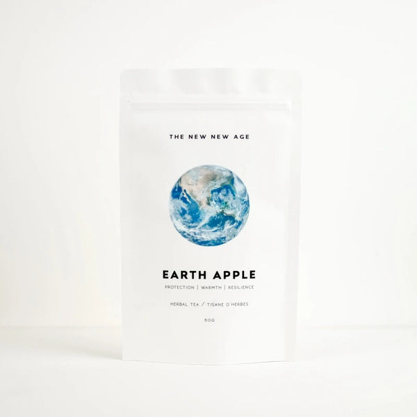 The New New Age Earth Apple Herbal Tea Rose City Goods Protection Warmth Resilience Apple Pie Cloves Tingly Feeling of Protection Chamomile Echinacea Cloves Elderberry Cinnamon Permaculturally Grown Certified Organic Wildcrafted Ethically Made in Ontario