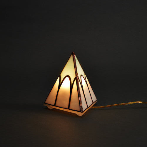 Friends of All Glass Pyramid Tabletop Lamp Cathedral Rose City Goods
