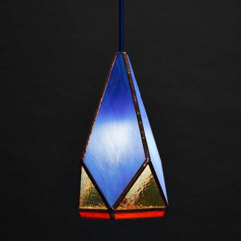 Friends of All Glass Greta Hanging Lamp Rose City Goods  Bright Blue Stained Glass Lamp Retro Lighting Handmade in Brooklyn