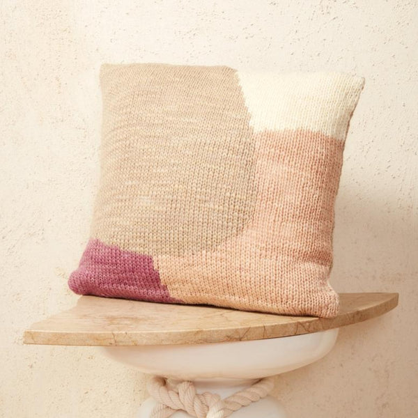Minna Goods Hillside Pillow Rose City Goods Lilac Knit Cushion Couch Bedding Livingroom Accessories Bedroom Accessories Ethically Made Housewares Sustainably Sourced Home Goods Hand Knit by Women Run Co-Op In Uruguay
