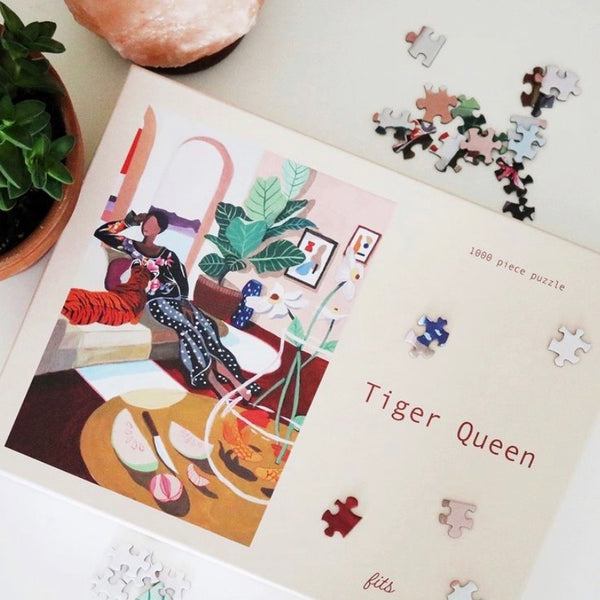 Fits Puzzles Tiger Queen 1000 Piece Puzzle Rose City Goods Medium Hard Puzzle Quarantine Hobby Healthy Lockdown Activity Things To Do During Lockdown Made in Small Batches Features Artwork From Female Artists Features Artwork by Lay Hoon Ho Based in BC