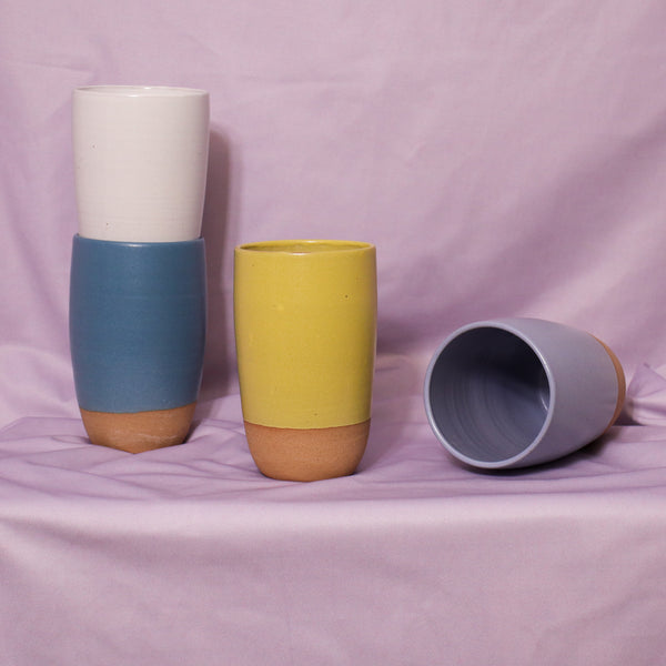 Monashee Pottery Colourblock Tumbler Rose City Goods Cute Large Cup Colourful Food Safe Glaze Handmade in Revelstoke British Colombia