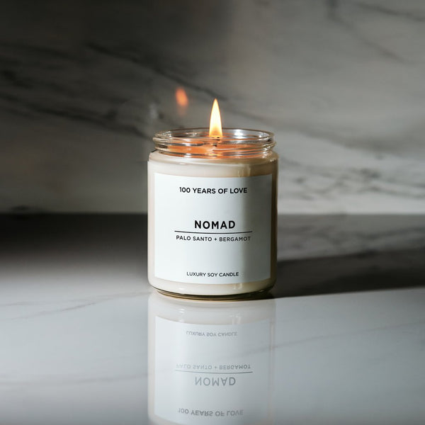 100 Years of Love Nomad Soy Candle Rose City Goods Scented Candle Palo Santo Bergamot Smooth Sweet Woody Citrus Lead Free Petroleum Free Phthalate Free Cotton Wick Hand Poured in Toronto