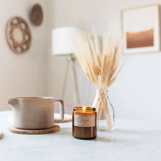PF Candle Co Teakwood and Tobacco Soy Candle Rose City Goods Slow Burning Candle 100% Natural Soy Wax Phthalate-Free Cotton Wick 50 Hour Burn Slow Burn Dry Woody Aromatic Hand Poured in California