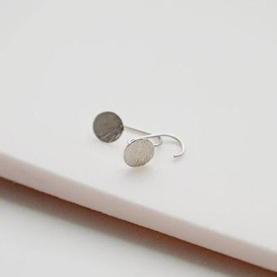 Devi Arts Collective Moon Over Water Earrings Rose City Goods Recycled Sterling Silver Handcrafted in Vancouver Unique Organic Shape Hammered Texture Minimalist Everyday Earrings