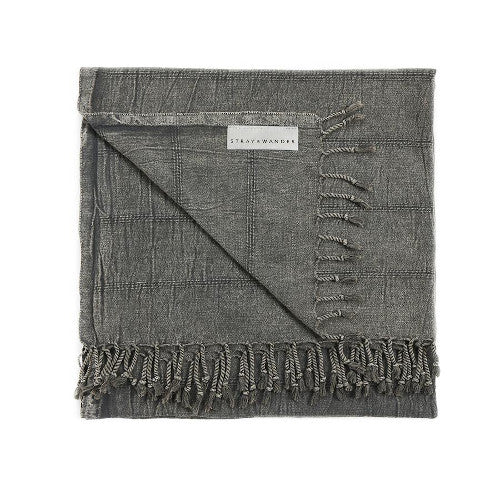 Stray & Wander Brook Towel Rose City Goods Turkish Towel 100% Hand-Loomed Organic Turkish Cotton Black Blue Grey Seafoam Green Quick Dry Absorbent Soft Towel Throw Blanket