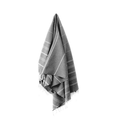 Stray & Wander Cove Towel Rose City Goods Turkish Towel Black Absorbent and Fast-Drying Handcrafted 100% Hand-Loomed Turkish Cotton
