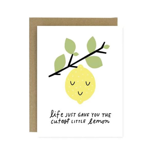 Greeting Card with Lemon on Tree Branch
