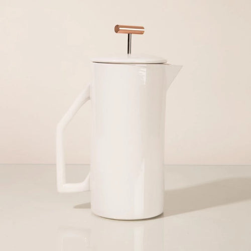 Yield Ceramic French Press Rose City Goods 850 ml Fine Mesh Steel Filter Ceramic Pitcher Lid Copper Pull Independent Business Based in Florida