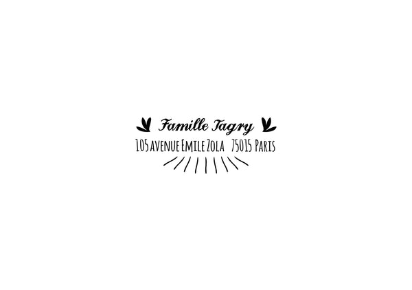 Tampon adresse sur mesure FAMILLE TAGRY, tampon adresse personnalisé, tampon adresse papeterie mariage, tampon personnalisé