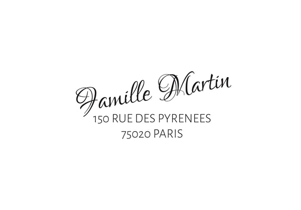 Tampon adresse famille Martin, tampon adresse personnalisé, tampon adresse papeterie mariage, tampon adresse personnalisé sur mesure,