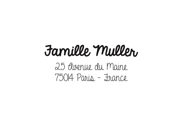 Tampon adresse famille Muller, tampon adresse personnalisé, tampon adresse papeterie mariage, tampon adresse personnalisé sur mesure,