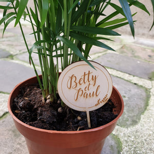 Plant topper mariage personnalisé Betty & Paul, plant topper personnalisable, plant topper en bois, wedding plant topper