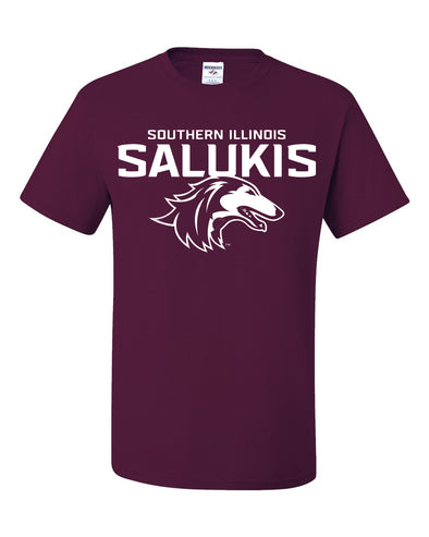 NEW MAROON 2019 ATHLETIC LOGO SOUTHERN ILLINOIS SALUKIS SHORT SLEEVE T-SHIRT