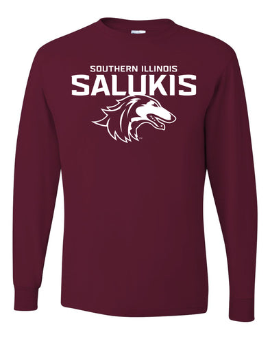 NEW MAROON 2019 ATHLETIC LOGO SOUTHERN ILLINOIS SALUKIS LONG SLEEVE T-SHIRT