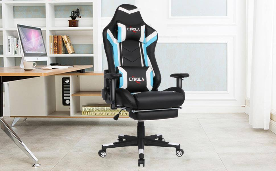 Awe Inspiring C6 Gaming Chair Cyrola Large Size Ergonomic Design Computer Chair Blue White Ncnpc Chair Design For Home Ncnpcorg