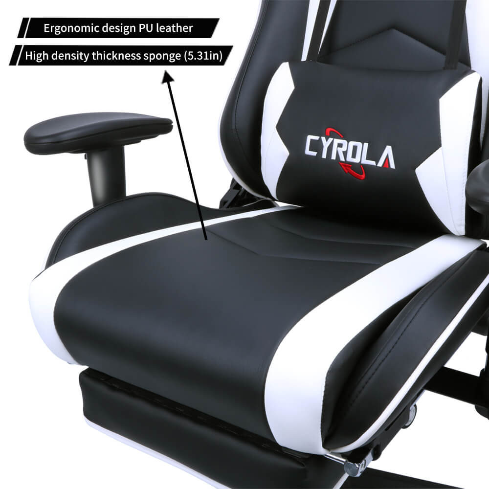 Stupendous Cyrola Gaming Chair Heavy Duty Big Size High Back 900 1800 Armrest Adjustable White Black K C02 Caraccident5 Cool Chair Designs And Ideas Caraccident5Info