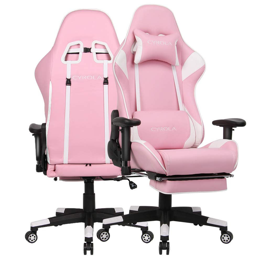 Superb Cyrola Gaming Chair Big Size High Back 900 1800 Armrest Adjustable Lumbar Support Pink White T E01 Ncnpc Chair Design For Home Ncnpcorg