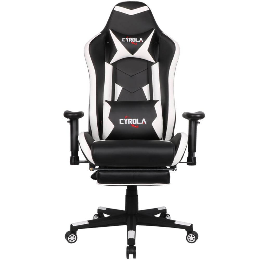 Astonishing Cyrola Gaming Chair With Footrest Big Size High Back 900 1800 Armrest Adjustable White Black T A01 Caraccident5 Cool Chair Designs And Ideas Caraccident5Info