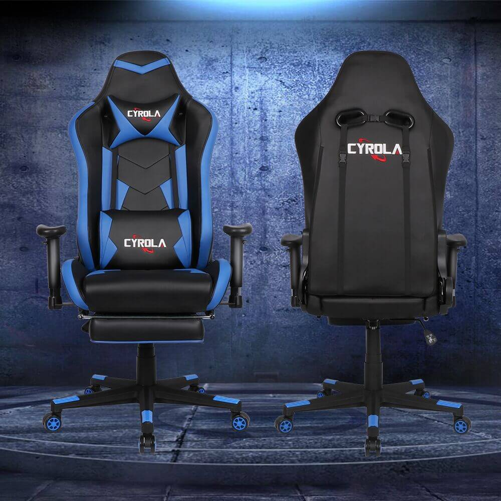 Superb Cyrola Gaming Chair With Footrest Big Size High Back 900 1800 Armrest Adjustable Blue Black T A03 Caraccident5 Cool Chair Designs And Ideas Caraccident5Info