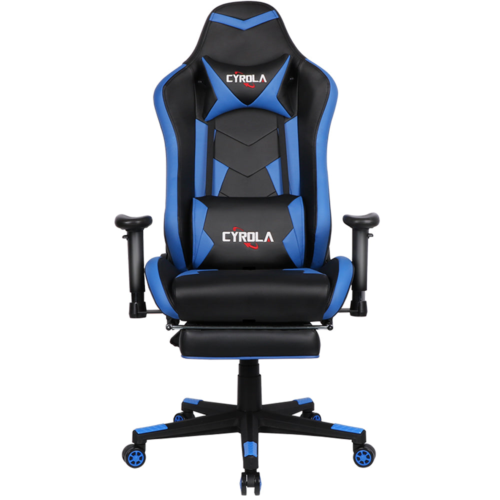 Tremendous Cyrola Gaming Chair With Footrest Big Size High Back 900 1800 Armrest Adjustable Blue Black T A03 Caraccident5 Cool Chair Designs And Ideas Caraccident5Info