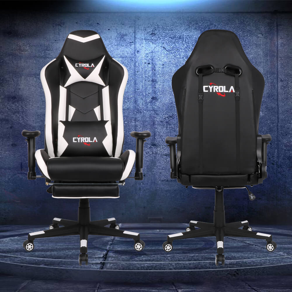 Phenomenal Cyrola Gaming Chair With Footrest Big Size High Back 900 1800 Armrest Adjustable White Black T A01 Caraccident5 Cool Chair Designs And Ideas Caraccident5Info