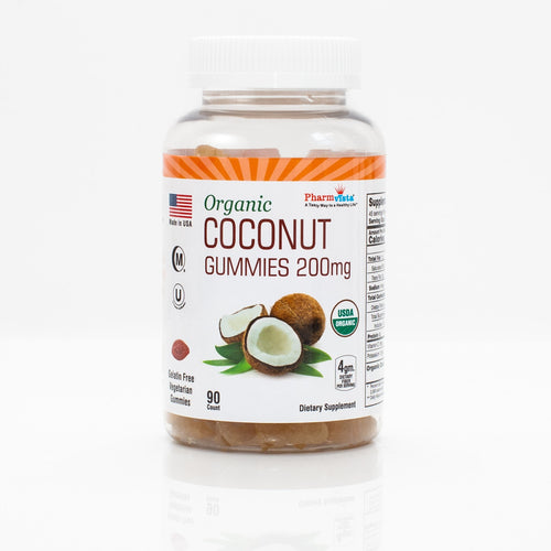 Organic Coconut Gummy - Gluten Free, Nutrient Rich Fiber gummies - 90 count