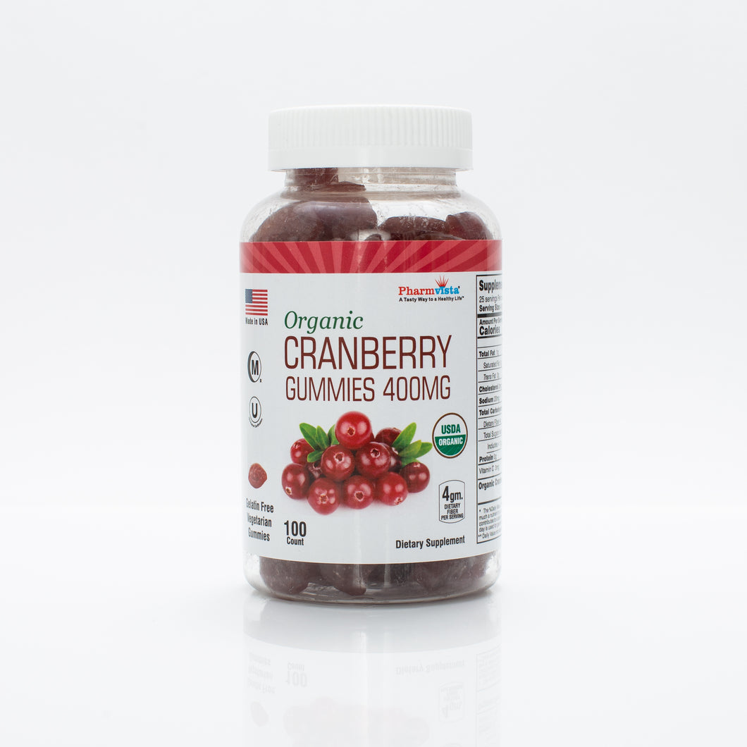 Organic Cranberry Gummies 400mg - Gluten Free, Nutrient Rich Snack - 100 Count