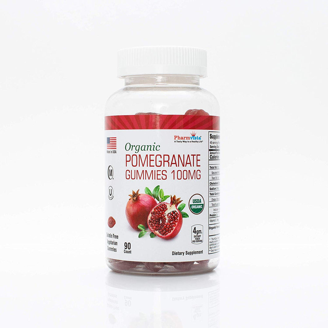 Organic Pomegranate Gummies 100mg - Gluten Free, Fiber Rich Snack - 90 Count