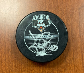 #43 Jeff Deslauriers Autographed Game Puck - 2011-12