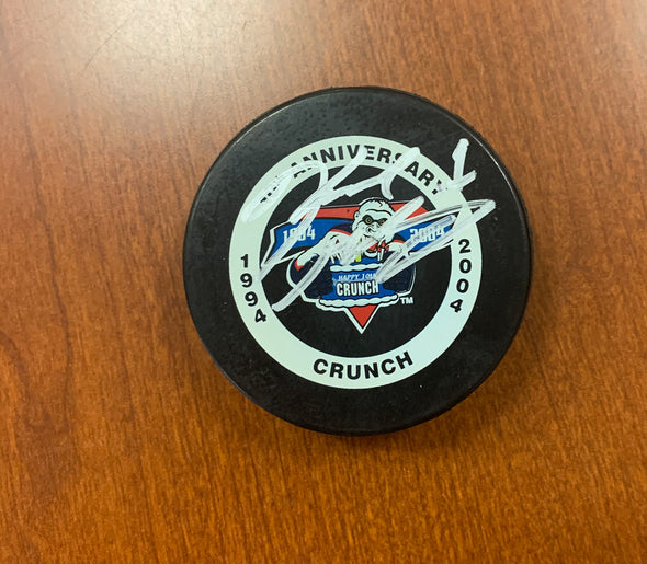 #1 Karl Goehring Autographed 10th Anniversary Game Puck - 2003-04