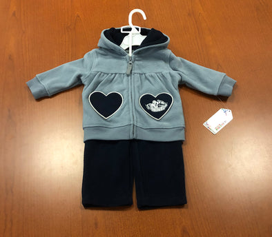 Infant Heart Fleece Sweatsuit - Grey/Blue